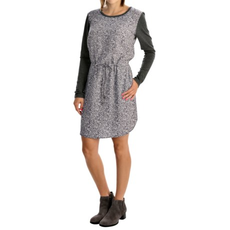 Printed Drawstring-Waist Dress - Long Sleeve (For Women)