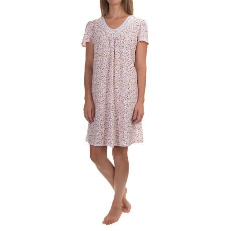 Aria Flutter Sleeve Nightshirt - V-Neck, Short Sleeve (For Women)