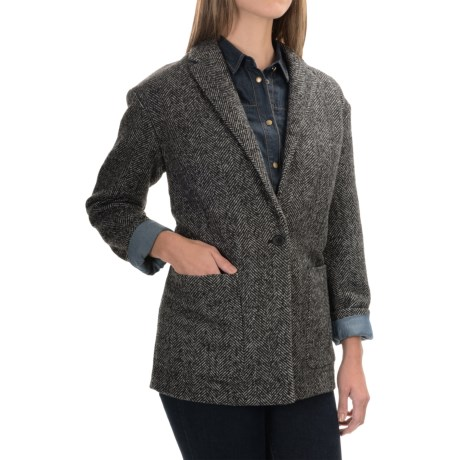 Herringbone Wool Blend Blazer (For Women)