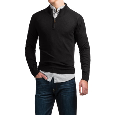 Cullen C89men Merino Wool Sweater - Zip Neck (For Men)