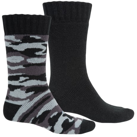 Legale Camo Cabin Slipper Socks - 2-Pack, Crew (For Men)