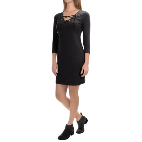 Chelsea & Theodore Front Tie Dress - 3/4 Sleeve (For Women)