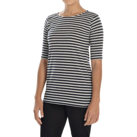 Philosophy Striped Boat Neck Shirt - Elbow Sleeve (For Women)