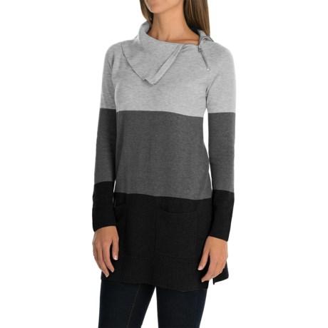 Eight Eight Eight Asymmetric Tunic Sweater - Zip Neck, Fine Gauge Cotton (For Women)
