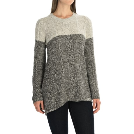 Jeanne Pierre Fisherman Cable-Knit A-Line Sweater (For Women)