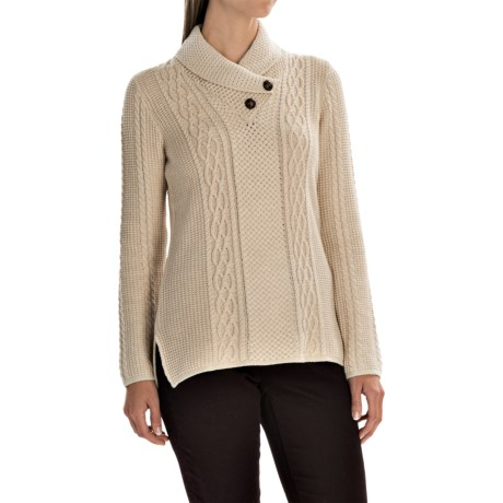 Jeanne Pierre Fisherman Shawl Sweater - Cotton Knit with Buttons (For Women)
