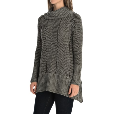 Eight Eight Eight Herringbone A-Line Sweater - Cowl Neck (For Women)