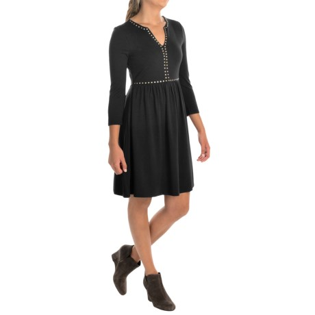 Cupio Studded Dress - 3/4 Sleeve (For Women)