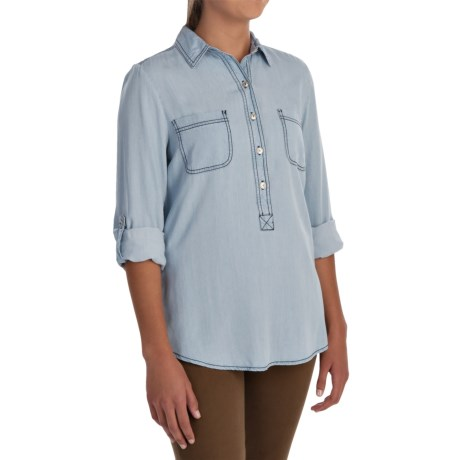 Cupio Roll Tab Denim Shirt - Long Sleeve (For Women)