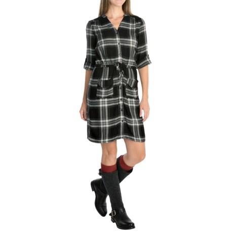 Spense Knits Mandarin Collar Shirt Dress - 3/4 Sleeve (For Women)