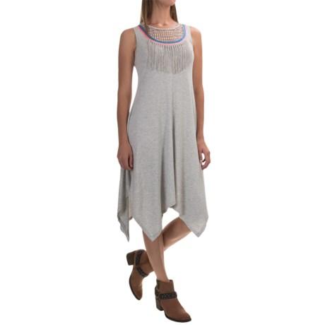 Spense Knits Crochet and Fringe Dress - Handkerchief Hem, Sleeveless (For Women)