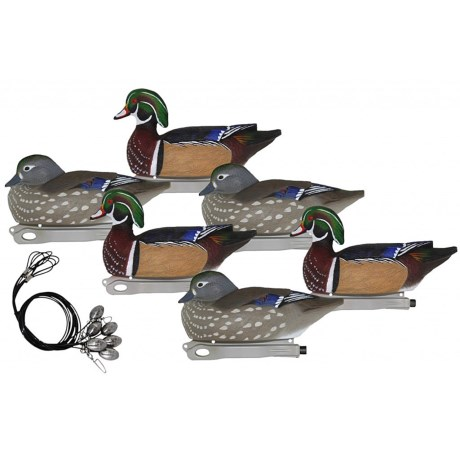 Hardcore Hunt Ready Wood Duck Pre-Rigged Decoys - 6-Pack