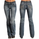 Rock & Roll Cowgirl Zigzag and Rhinestone Pocket Jeans - Bootcut (For Women)