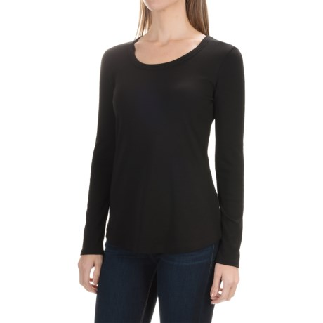 Cynthia Rowley Scoop Neck Shirt - Pima Cotton-Modal, Long Sleeve (For Women)