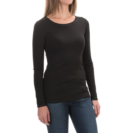 Cynthia Rowley Ribbed Scoop Neck Shirt - Pima Cotton-Modal, Long Sleeve (For Women)