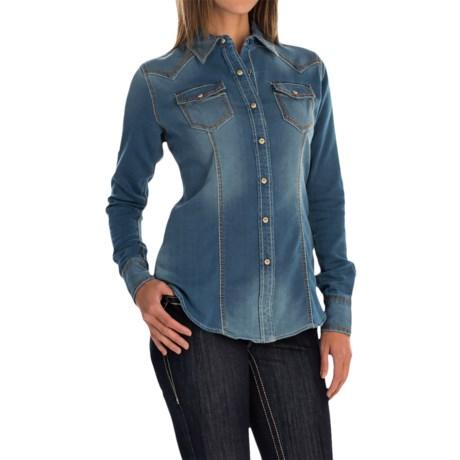 Ariat Bufford Knit Denim Shirt - Snap Front, Long Sleeve (For Women)