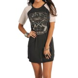Rock & Roll Cowgirl Vintage Print Dress - Short Sleeve (For Women)