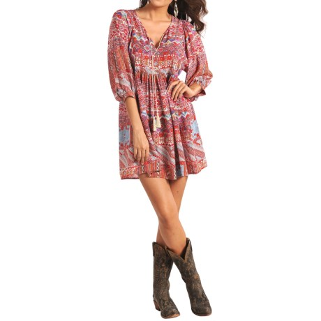 Rock & Roll Cowgirl Aztec Peasant Dress - Elbow Sleeve (For Women)