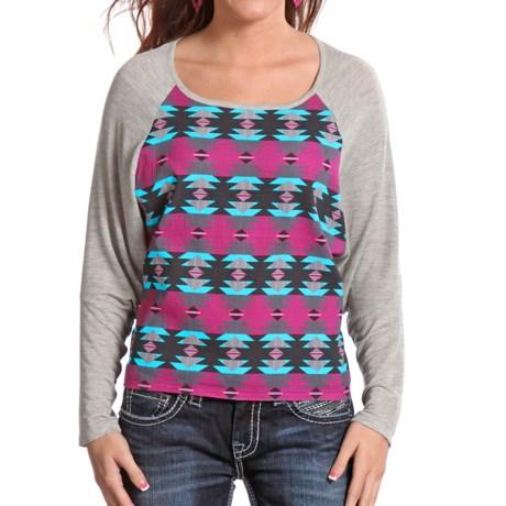 Rock & Roll Cowgirl Printed Raglan Shirt - Long Sleeve (For Women)