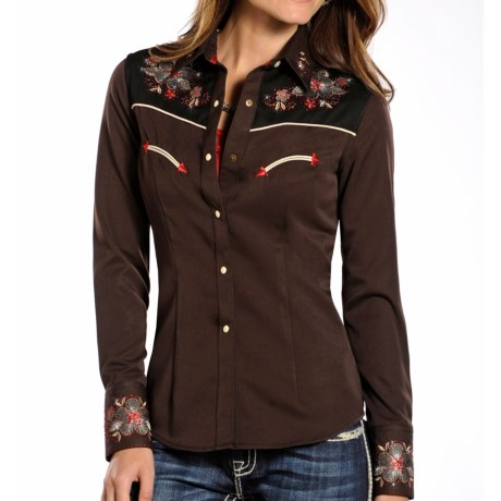 Panhandle Slim Retro Rio Vista Floral Shirt - Snap Front, Long Sleeve (For Women)