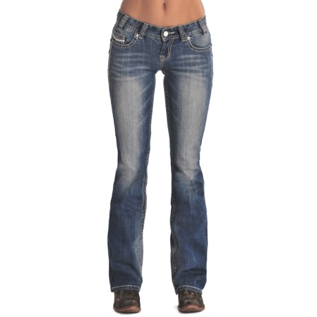 Rock & Roll Cowgirl Ivory and Silver Jeans - Low Rise, Bootcut (For Women)