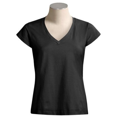 Solid-Color V-Neck T-Shirt - Short Sleeve (For Women)