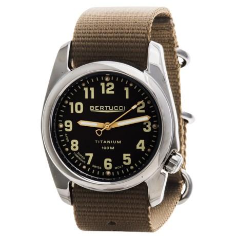 Bertucci A-2T High-Polish Titanium Field Watch - Gloss Burlap Dial (For Men)