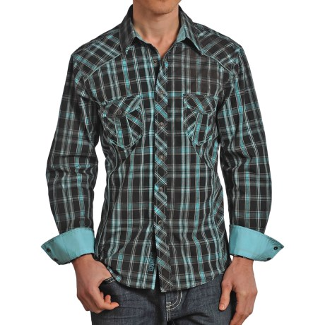 Rock & Roll Cowboy Plaid Stitched Western Shirt - Snap Front, Long Sleeve (For Men)