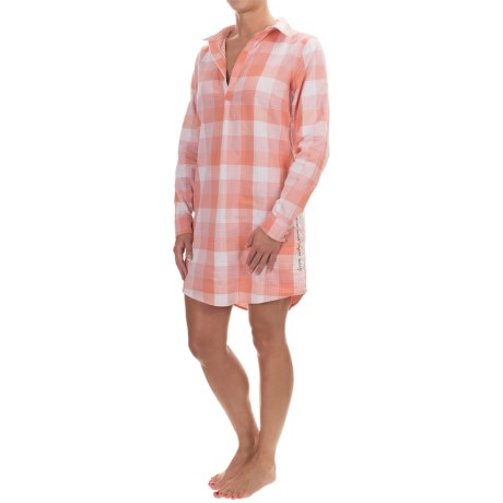 Life is good® Double-Faced Woven Nightshirt - V-Neck, Long Sleeve (For Women)