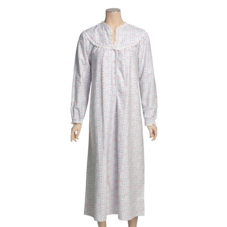 "Lanz Flannel 50"" Nightgown - Long Sleeve (For Women)"