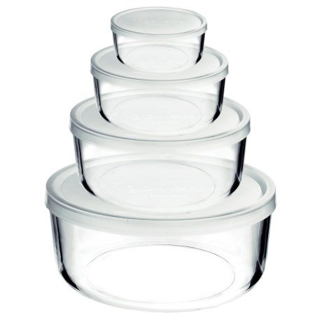 Bormioli Rocco Frigovere Round Glass Storage Bowls with Lids - Set of 4