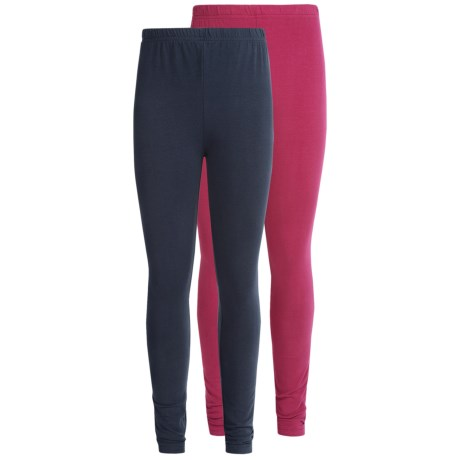 Pink Velvet Solid Cotton Leggings - 2-Pack (For Little and Big Girls)