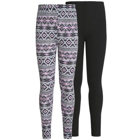 Pink Velvet Cotton Print Leggings - 2-Pack (For Big Girls)