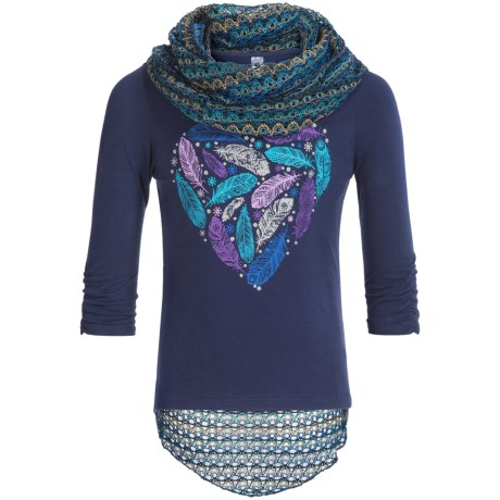 Pink Velvet Graphic Shirt and Scarf Set - Long Sleeve (For Big Girls)