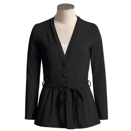 Lilla P Stretch Cotton Cardigan Sweater - Belted (For Women)