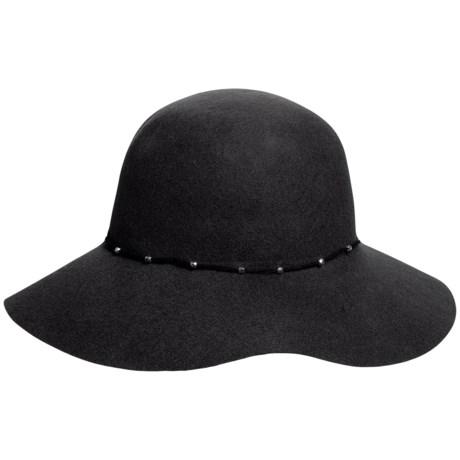 Callanan Round Crown Wool Felt Hat - Stud Trim, Raw Edge (For Women)