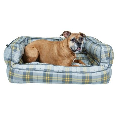 "Max Studio Pet Plaid Bolster Dog Bed - Extra Large, 36x27"""
