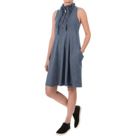 Dakini French Terry Zip Neck Dress - Elongated Pockets Sleeveless (For Women)
