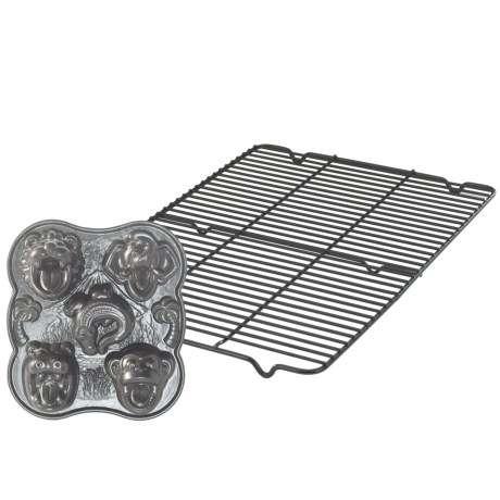 Nordic Ware Hungry Animals Cake Pan and Cooling Rack Set