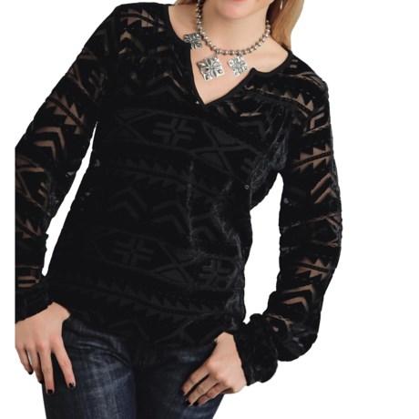 Studio West Roper Burnout Velvet Peasant Top - Long Sleeve (For Women)