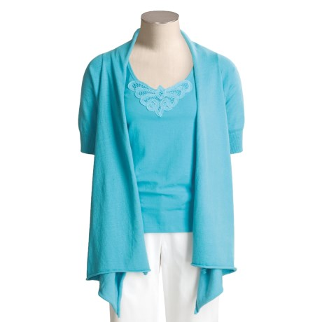 Kial Cotton-Rich Cardigan Sweater - Drape Front (For Women)