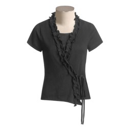 Kial Ruffle Trim Wrap Shirt - Short Sleeve (For Women)