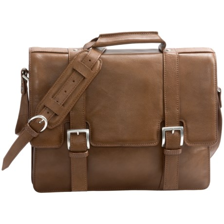 Scully Hidesign Buckle Flapover Laptop Briefcase
