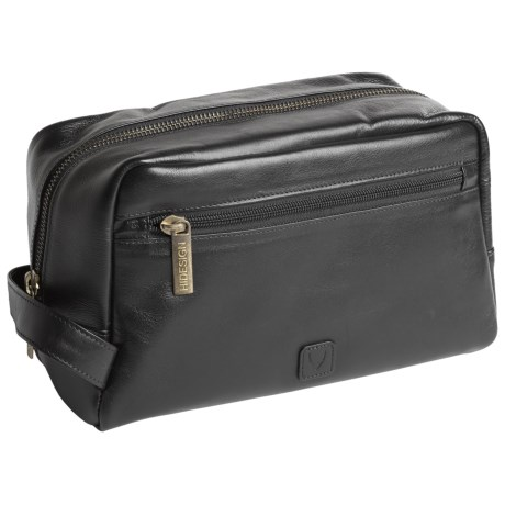 Scully Hidesign Leather Shave Kit - Side Zip Pocket