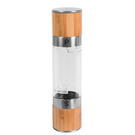 Mimo Style 2-in-1 Salt and Pepper Mill - Dual Chamber, Bamboo and Stainless Steel