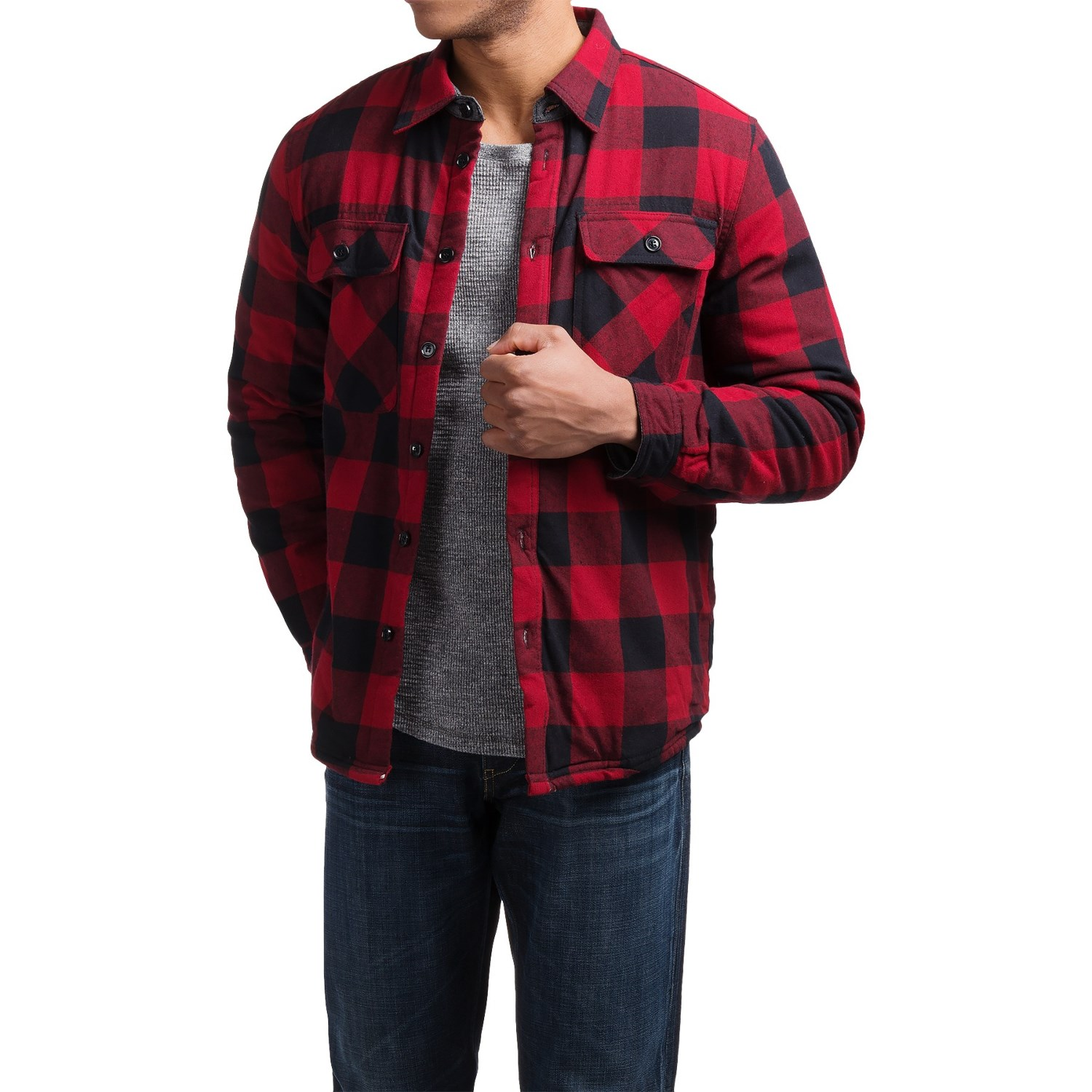 Visitor Flannel Sherpa Lined Shirt Jacket For Men 172xm