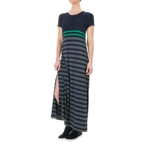 British Khaki Jersey Stripe Long Dress - Short Sleeve (For Women)