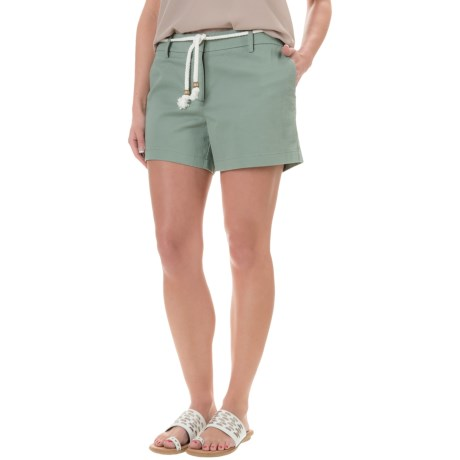 "Cambridge Dry Goods Belted Flat-Front Shorts - 4"" (For Women)"