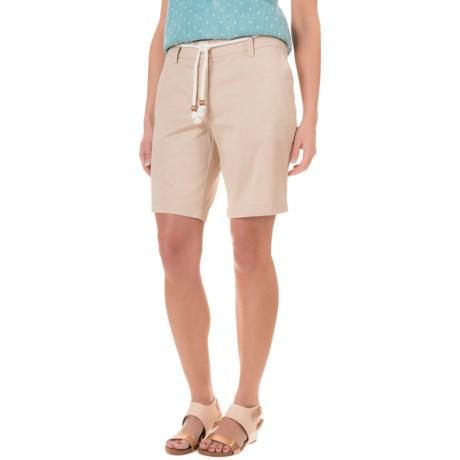 British Khaki Peached Garment Bermuda Shorts (For Women)