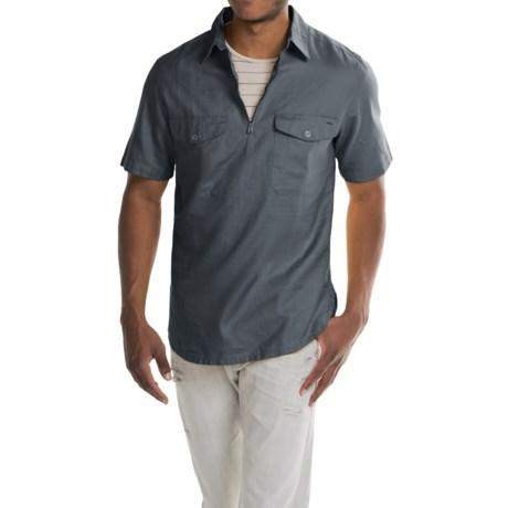 Woolrich Zip Neck Popover Shirt - Cotton-Linen, Short Sleeve (For Men)